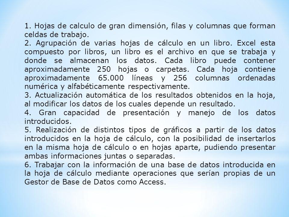 1. Hojas de calculo de gran dimensión, filas y columnas que forman celdas de trabajo. 2. Agrupación de varias hojas de cálculo en un libro. Excel esta