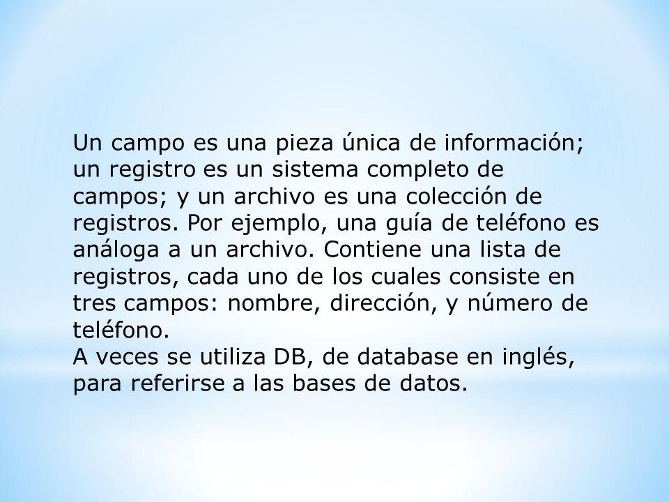 Un campo es una pieza única de información; un registro es un sistema completo de campos; y un archivo es una colección de registros. Por ejemplo, una