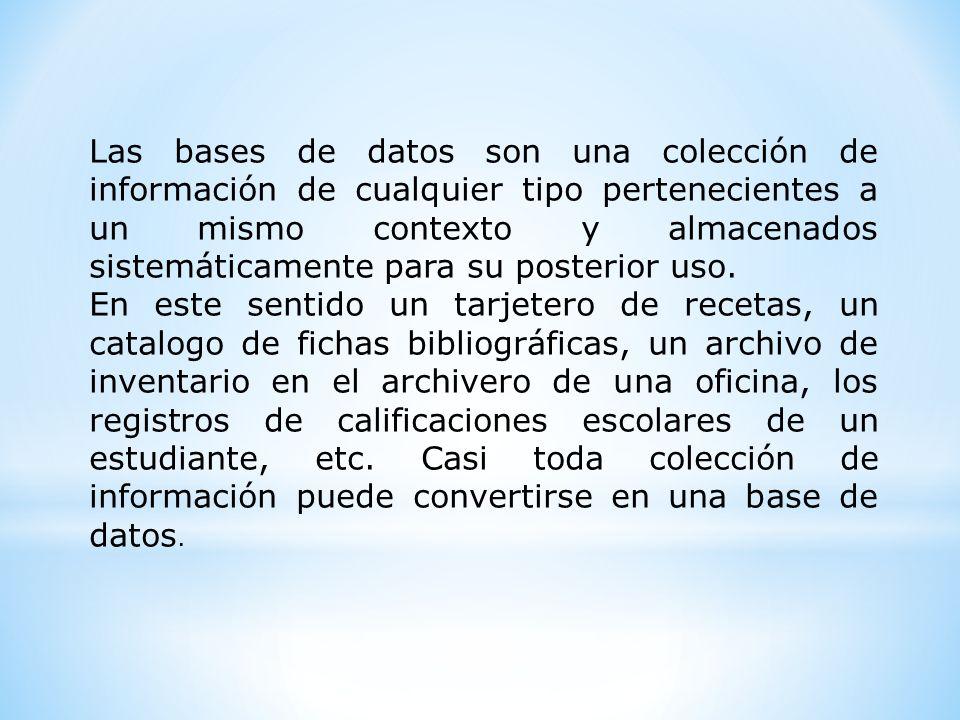 Las bases de datos son una colección de información de cualquier tipo pertenecientes a un mismo contexto y almacenados sistemáticamente para su poster