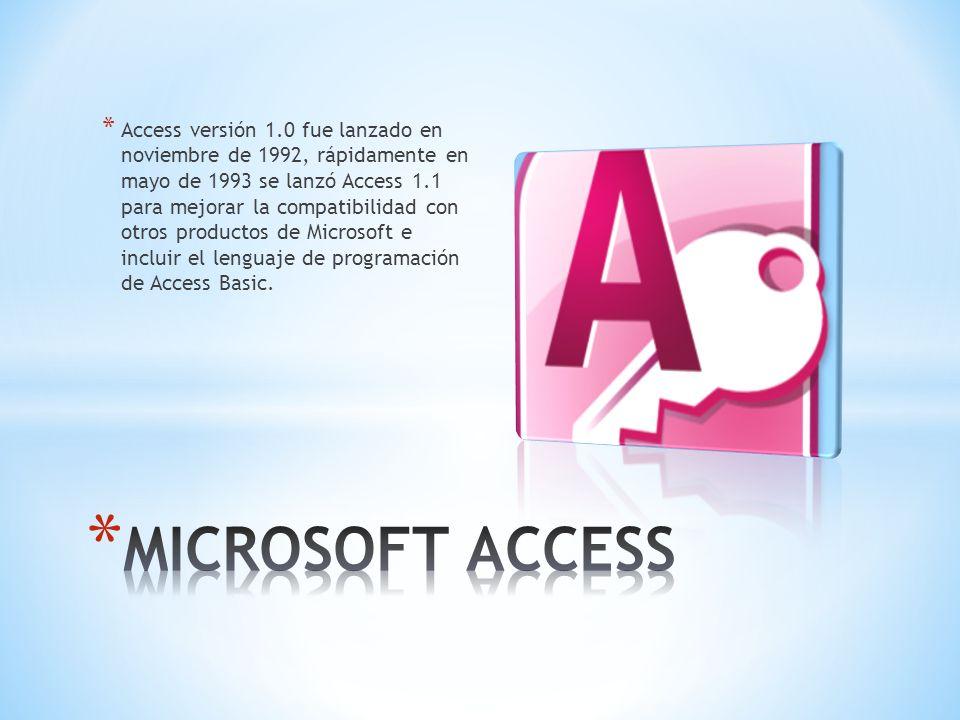 * Access versión 1.0 fue lanzado en noviembre de 1992, rápidamente en mayo de 1993 se lanzó Access 1.1 para mejorar la compatibilidad con otros produc