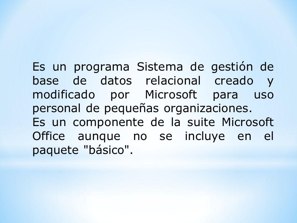 Es un programa Sistema de gestión de base de datos relacional creado y modificado por Microsoft para uso personal de pequeñas organizaciones. Es un co