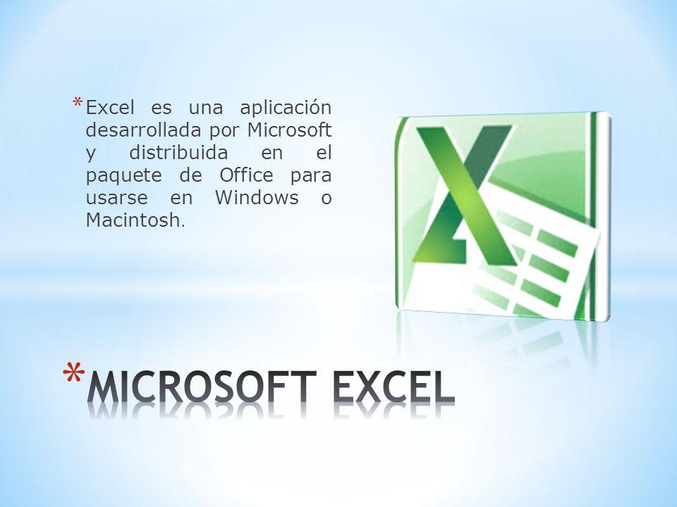 * Excel es una aplicación desarrollada por Microsoft y distribuida en el paquete de Office para usarse en Windows o Macintosh.