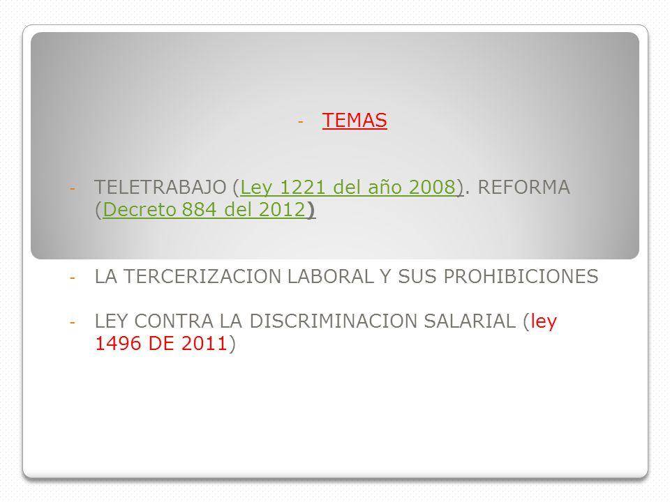 - TEMAS - TELETRABAJO (Ley 1221 del año 2008). REFORMA (Decreto 884 del 2012)Ley 1221 del año 2008Decreto 884 del 2012 - LA TERCERIZACION LABORAL Y SU