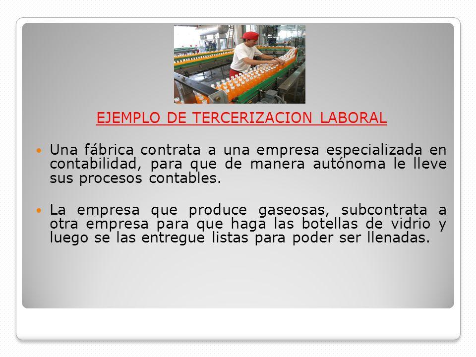 EJEMPLO DE TERCERIZACION LABORAL Una fábrica contrata a una empresa especializada en contabilidad, para que de manera autónoma le lleve sus procesos c