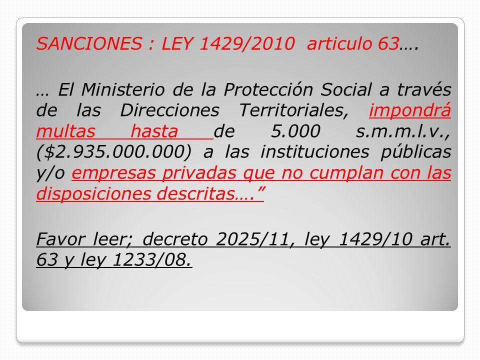 SANCIONES : LEY 1429/2010 articulo 63…. … El Ministerio de la Protección Social a través de las Direcciones Territoriales, impondrá multas hasta de 5.
