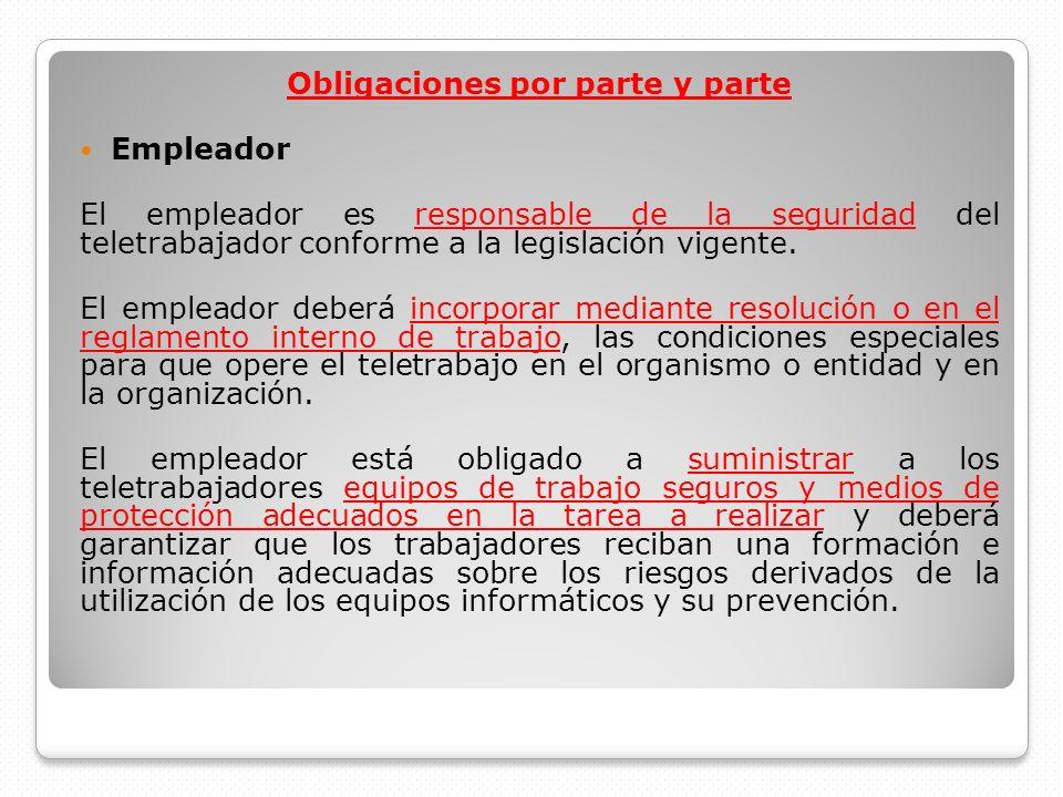 Obligaciones por parte y parte Empleador El empleador es responsable de la seguridad del teletrabajador conforme a la legislación vigente. El empleado