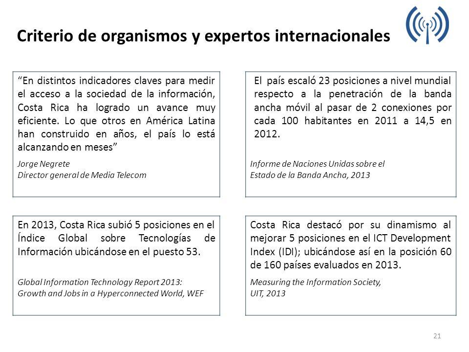 Criterio de organismos y expertos internacionales En distintos indicadores claves para medir el acceso a la sociedad de la información, Costa Rica ha