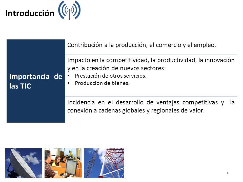Introducción Importancia de las TIC Contribución a la producción, el comercio y el empleo. Impacto en la competitividad, la productividad, la innovaci