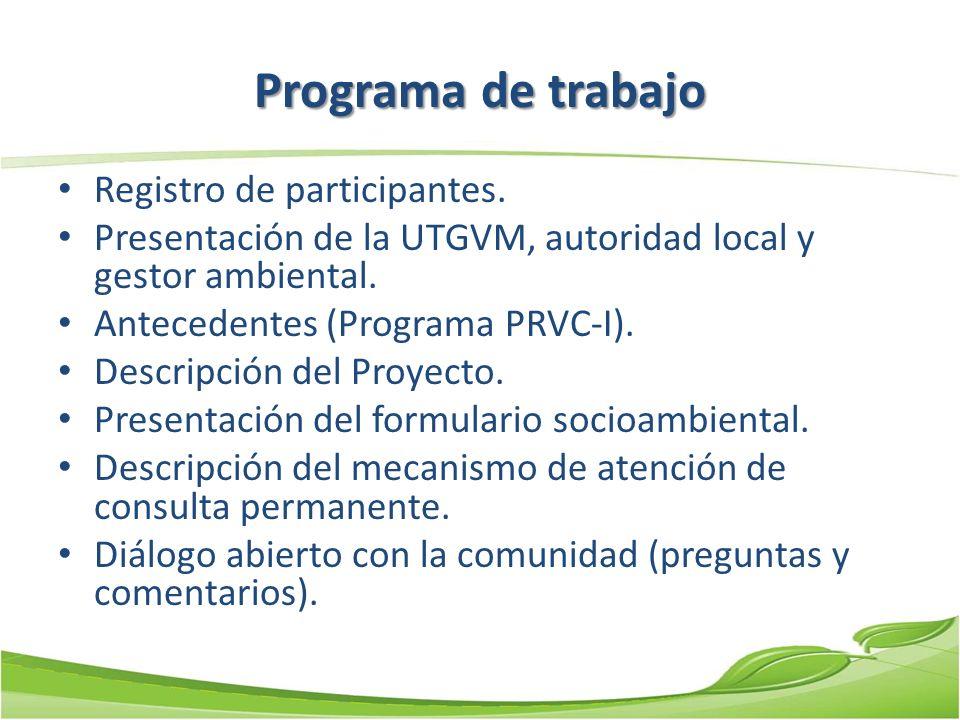Programa de trabajo Registro de participantes. Presentación de la UTGVM, autoridad local y gestor ambiental. Antecedentes (Programa PRVC-I). Descripci