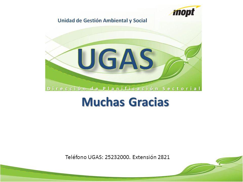 Muchas Gracias Teléfono UGAS: 25232000. Extensión 2821