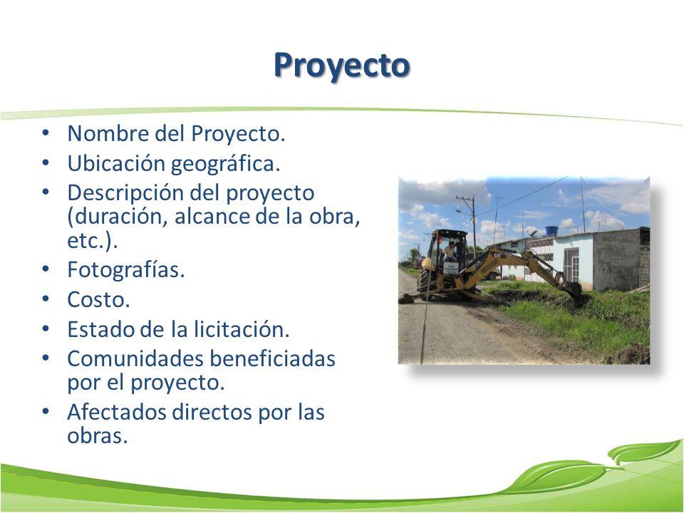 Proyecto Nombre del Proyecto. Ubicación geográfica. Descripción del proyecto (duración, alcance de la obra, etc.). Fotografías. Costo. Estado de la li