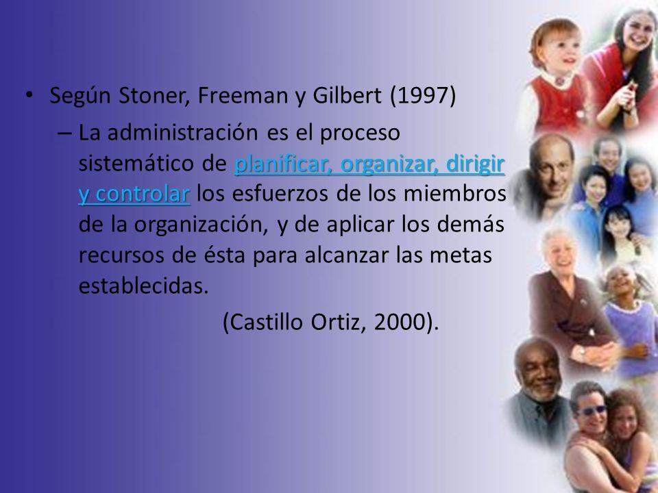 Según Stoner, Freeman y Gilbert (1997) planificar, organizar, dirigir y controlar – La administración es el proceso sistemático de planificar, organiz