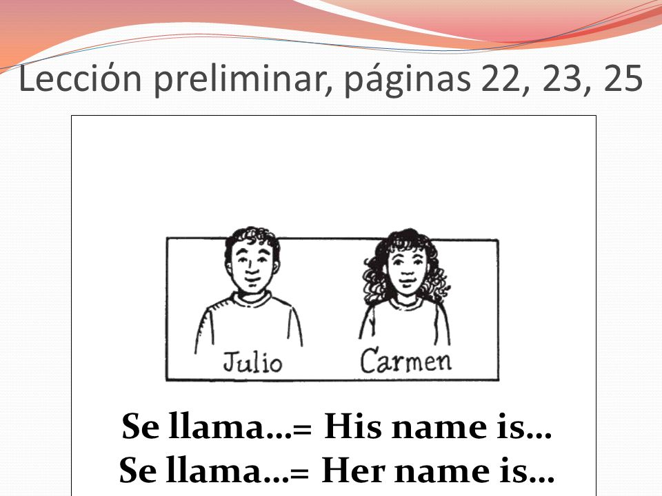 Lecciόn preliminar, páginas 22, 23, 25 Se llama…= His name is… Se llama…= Her name is…