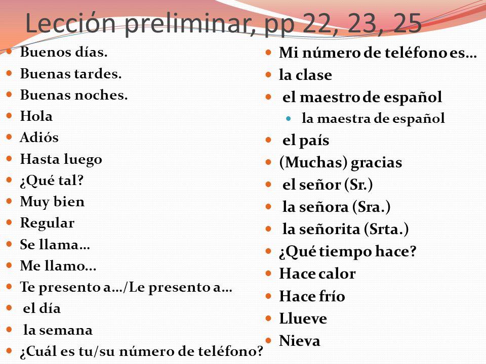 Lecciόn preliminar, páginas 22, 23, 25 ¿Cuál es tu número de teléfono?= Whats your phone number.