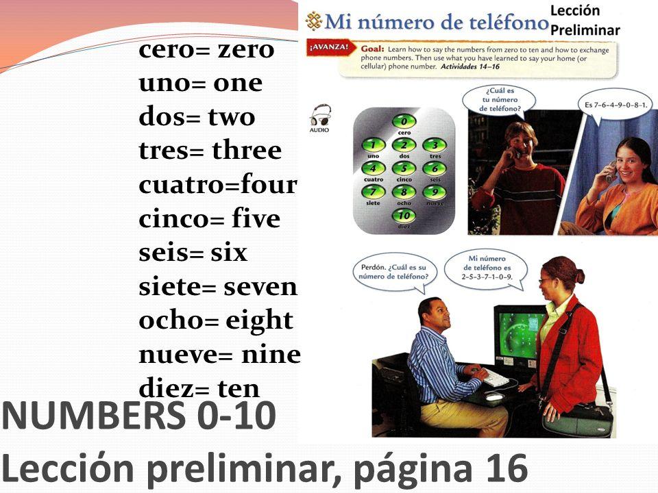 Lecciόn preliminar, páginas 22, 23, 25 la clase= class