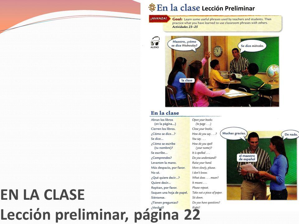 Lecciόn preliminar, páginas 22, 23, 25 Regular= Okay