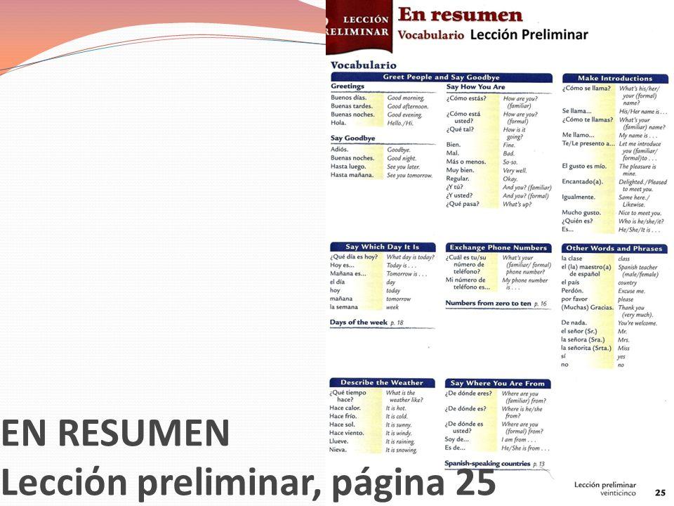 Lecciόn preliminar, páginas 22, 23, 25 Me llamo…= My name is…