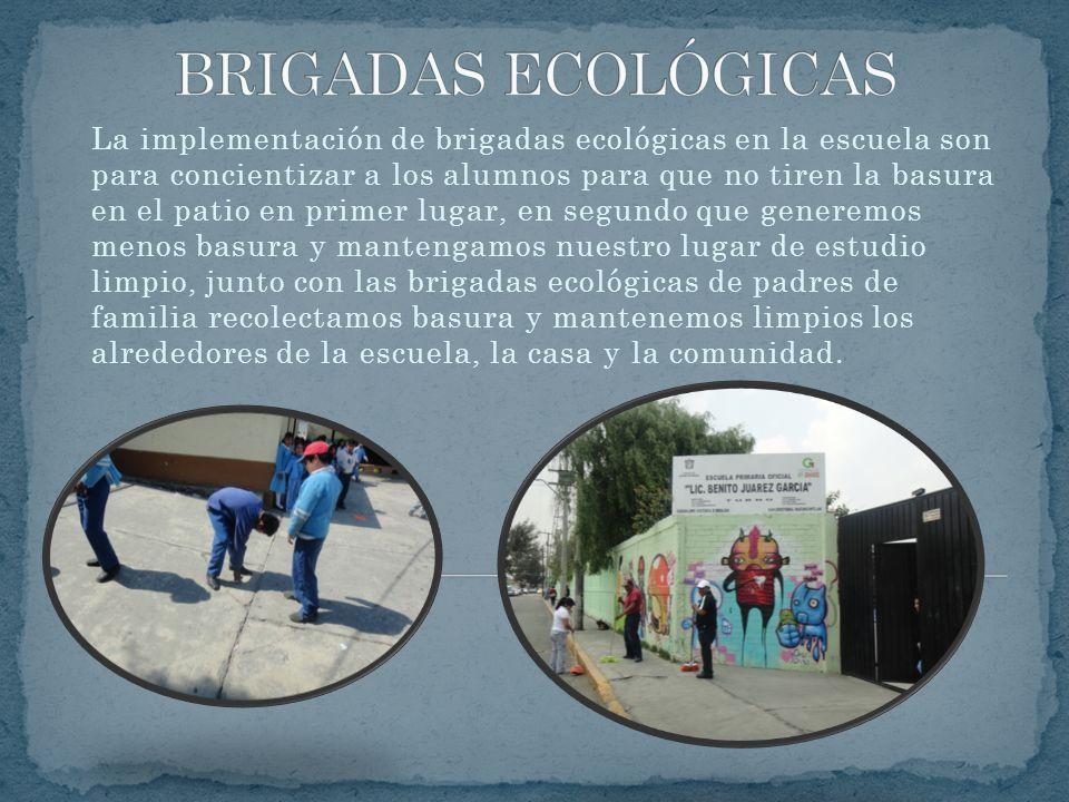 La implementación de brigadas ecológicas en la escuela son para concientizar a los alumnos para que no tiren la basura en el patio en primer lugar, en