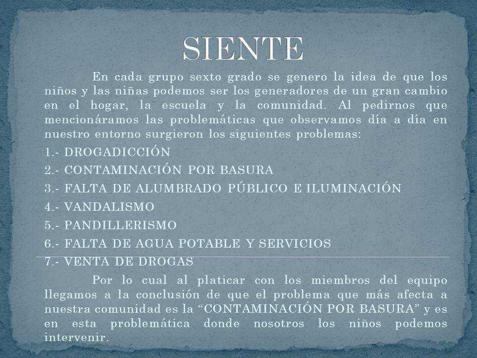 1.- FORMAR EQUIPO DE TRABAJO PARA CONCIENTIZAR A LOS COMPAÑEROS QUE LA CONTAMINACIÓN POR BASURA ESTA PROVOCANDO SERIOS CAMBIOS CLIMÁTICOS Y QUE LOS NIÑOS PODEMOS CREAR EL CAMBIO EN EL HOGAR, LA ESCUELA Y LA COMUNIDAD, ME GUSTARÍA QUE ESTUVIERAN MÁS LIMPIAS Y SIN BASURA.