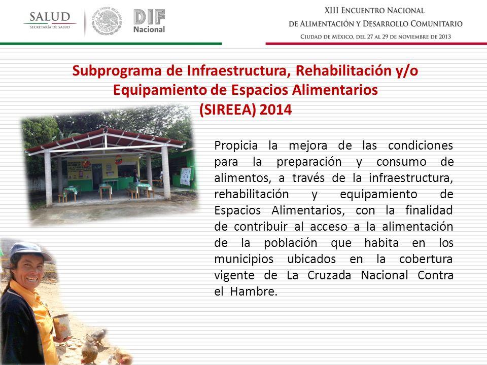 Subprograma de Infraestructura, Rehabilitación y/o Equipamiento de Espacios Alimentarios (SIREEA) 2014 Propicia la mejora de las condiciones para la p