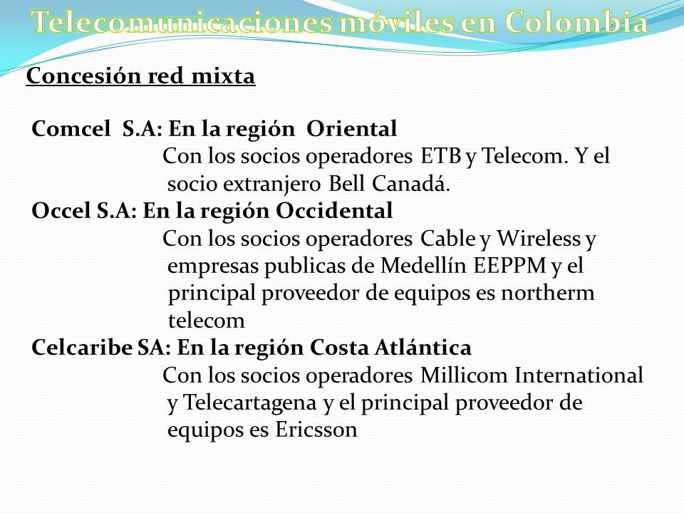 Concesión red mixta Comcel S.A: En la región Oriental Con los socios operadores ETB y Telecom. Y el socio extranjero Bell Canadá. Occel S.A: En la reg