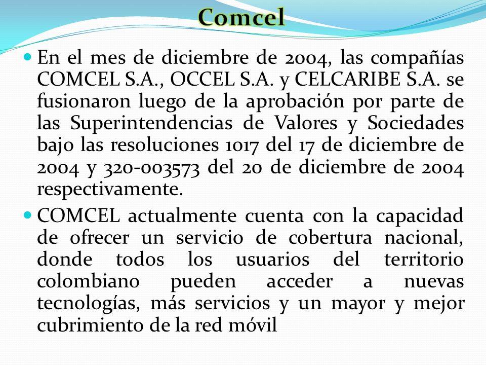 En el mes de diciembre de 2004, las compañías COMCEL S.A., OCCEL S.A. y CELCARIBE S.A. se fusionaron luego de la aprobación por parte de las Superinte