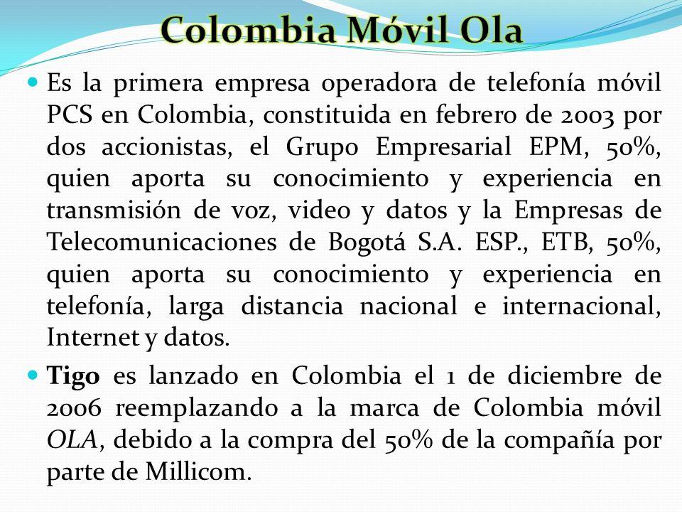 Es la primera empresa operadora de telefonía móvil PCS en Colombia, constituida en febrero de 2003 por dos accionistas, el Grupo Empresarial EPM, 50%,