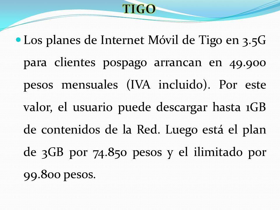 Los planes de Internet Móvil de Tigo en 3.5G para clientes pospago arrancan en 49.900 pesos mensuales (IVA incluido). Por este valor, el usuario puede