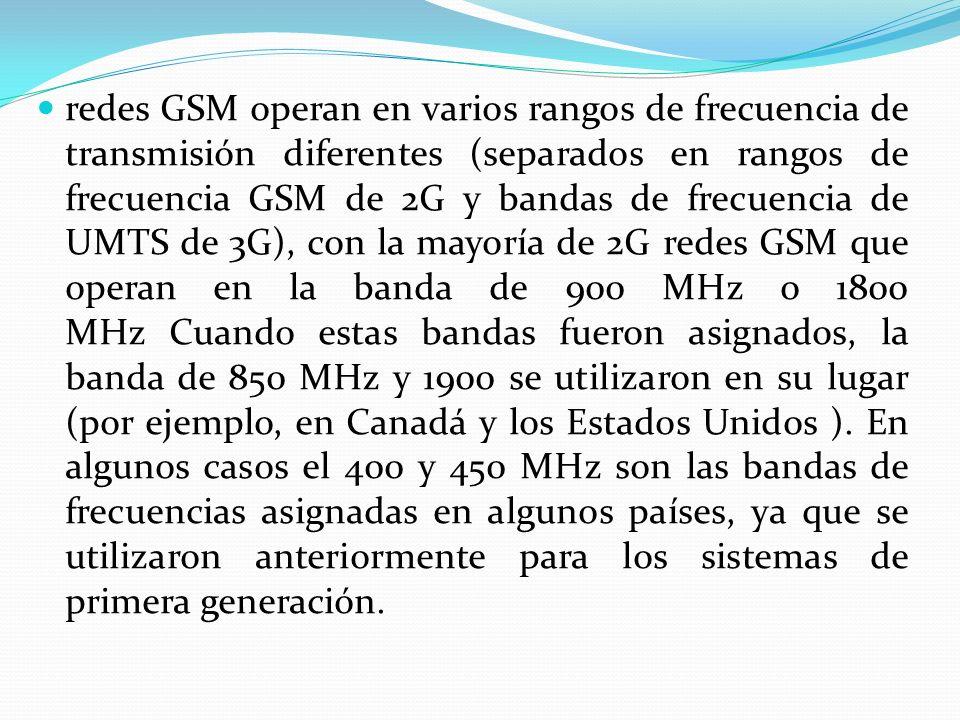 redes GSM operan en varios rangos de frecuencia de transmisión diferentes (separados en rangos de frecuencia GSM de 2G y bandas de frecuencia de UMTS