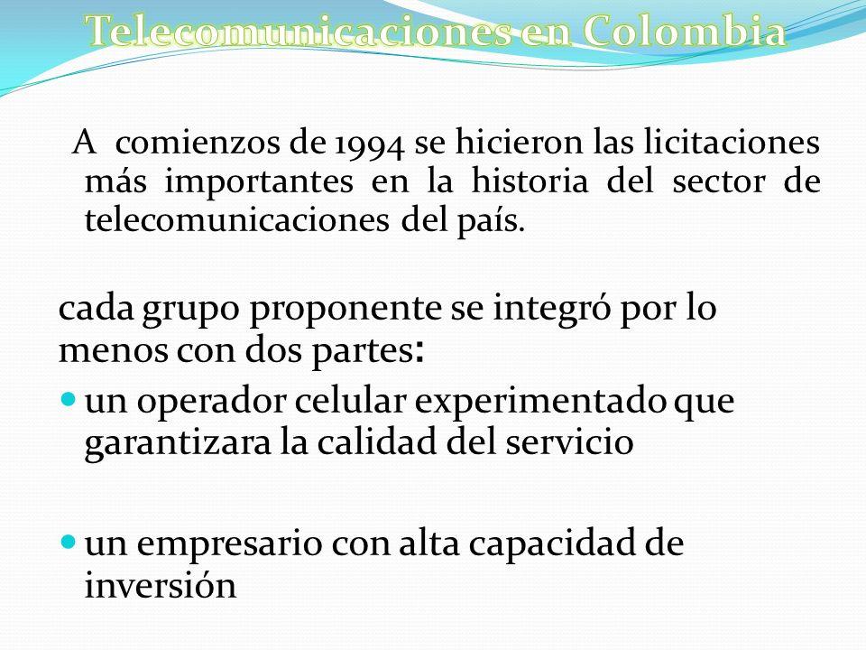 A comienzos de 1994 se hicieron las licitaciones más importantes en la historia del sector de telecomunicaciones del país. cada grupo proponente se in