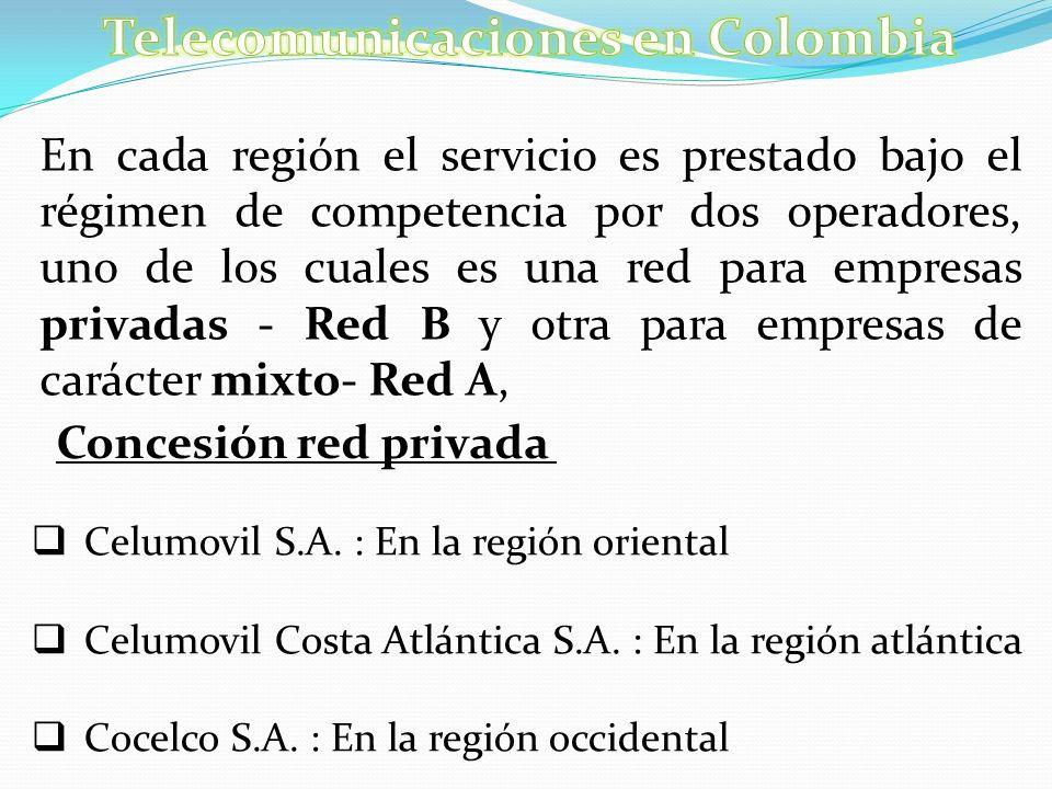 En cada región el servicio es prestado bajo el régimen de competencia por dos operadores, uno de los cuales es una red para empresas privadas - Red B