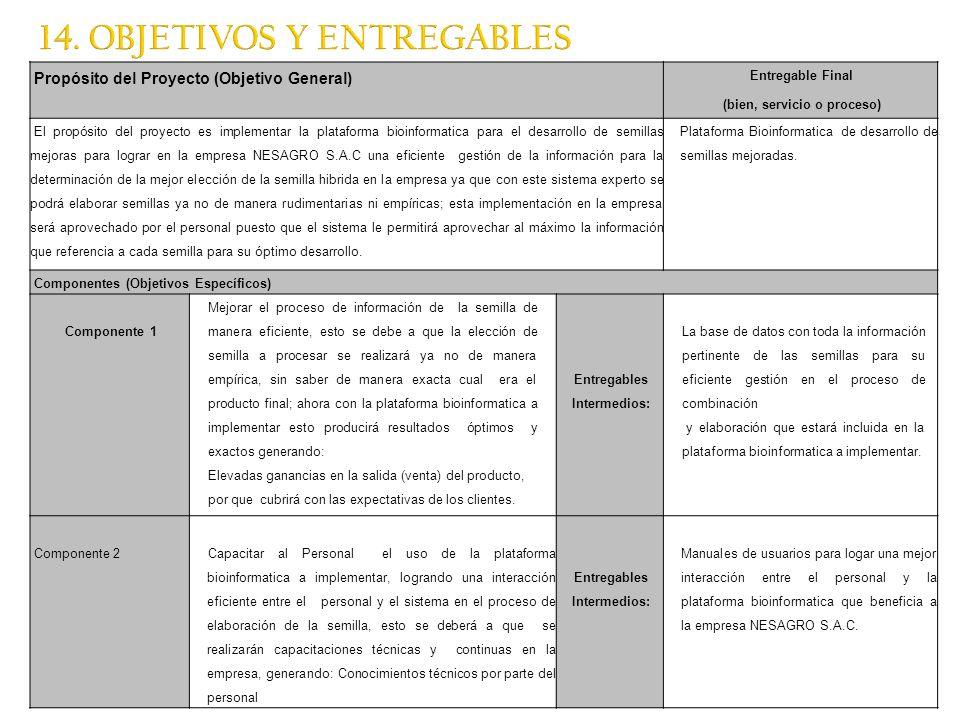 14. OBJETIVOS Y ENTREGABLES Propósito del Proyecto (Objetivo General) Entregable Final (bien, servicio o proceso) El propósito del proyecto es impleme