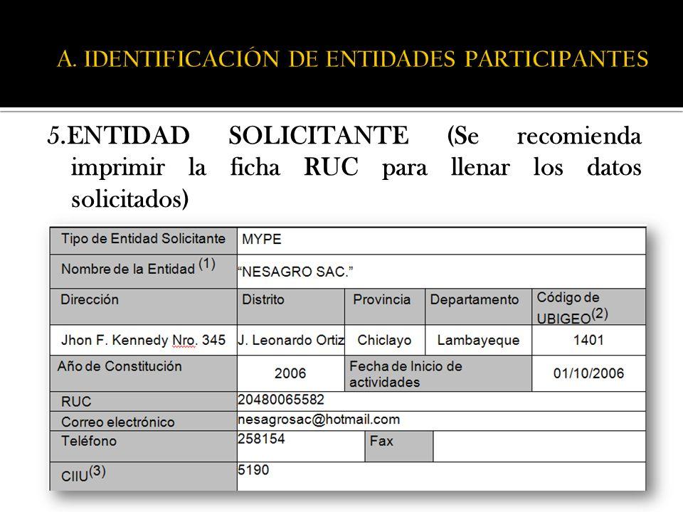 5.ENTIDAD SOLICITANTE (Se recomienda imprimir la ficha RUC para llenar los datos solicitados)
