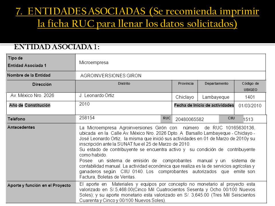ENTIDAD ASOCIADA 2: Tipo de Entidad Asociada 1 Empresa Nombre de la Entidad Universidad Señor de Sipán SAC.