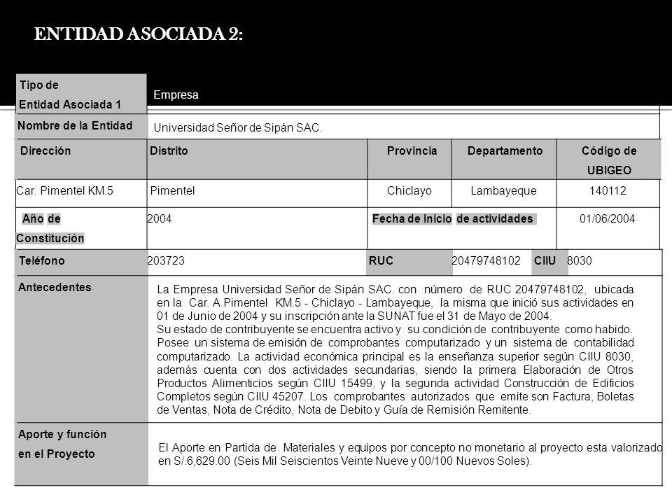 ENTIDAD ASOCIADA 2: Tipo de Entidad Asociada 1 Empresa Nombre de la Entidad Universidad Señor de Sipán SAC. DirecciónDistritoProvinciaDepartamento Cód