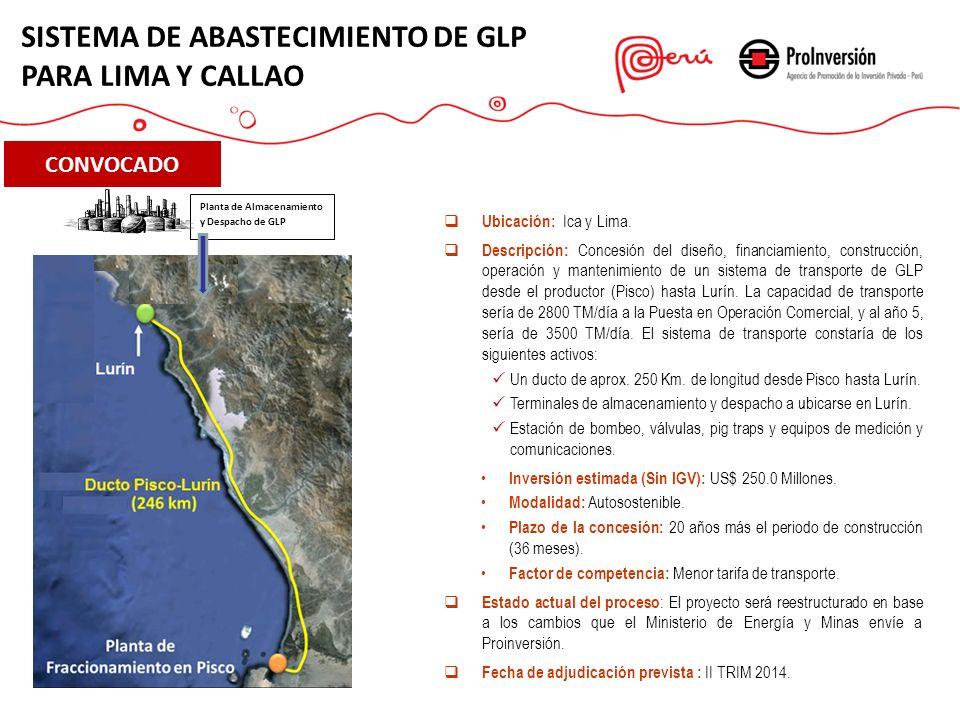CONVOCADO Ubicación: Ica y Lima. Descripción: Concesión del diseño, financiamiento, construcción, operación y mantenimiento de un sistema de transport