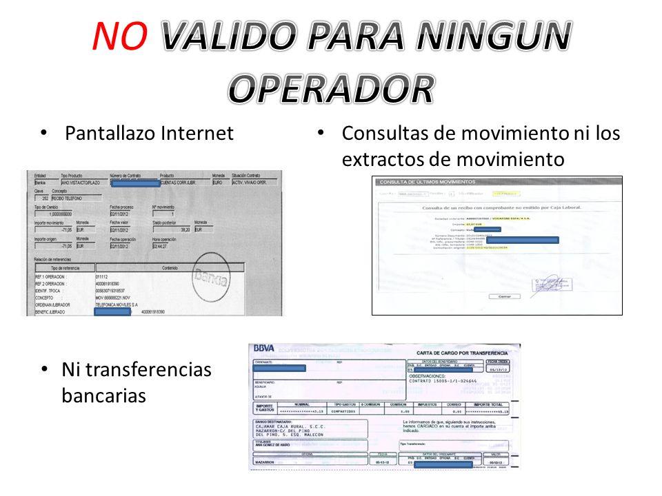 Pantallazo Internet Consultas de movimiento ni los extractos de movimiento Ni transferencias bancarias