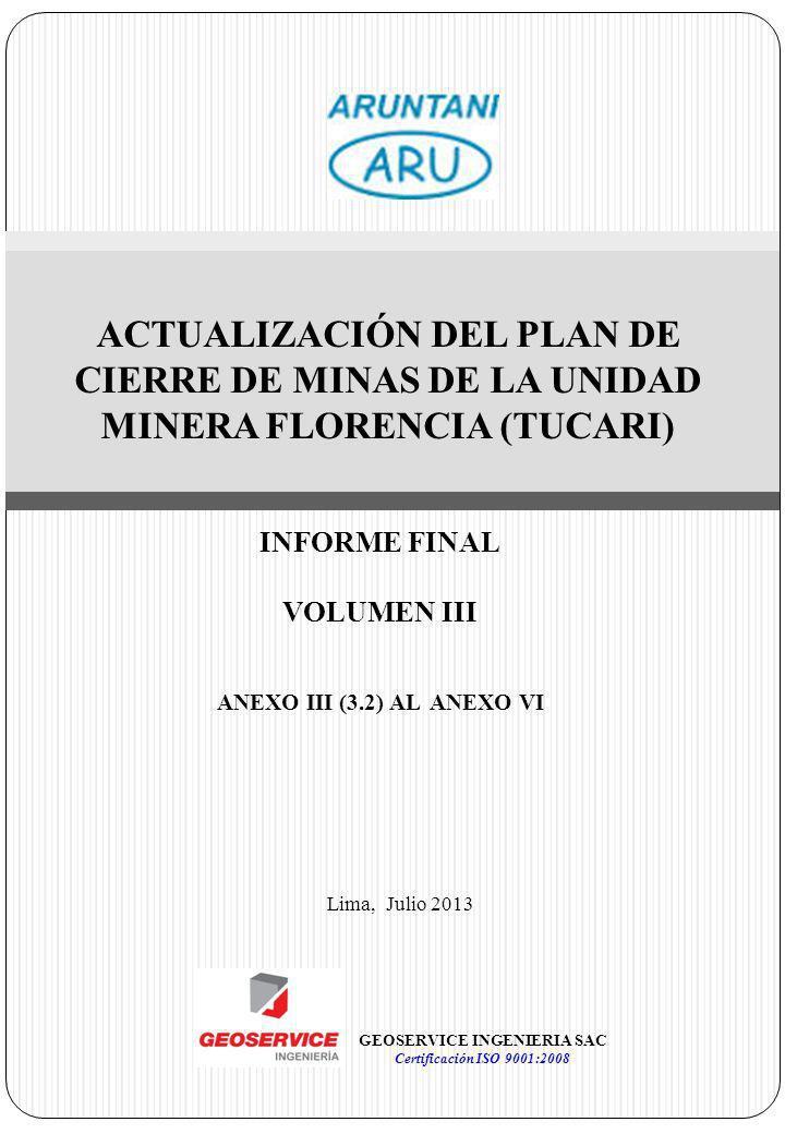 ACTUALIZACIÓN DEL PLAN DE CIERRE DE MINAS DE LA UNIDAD MINERA FLORENCIA (TUCARI) Lima, Julio 2013 GEOSERVICE INGENIERIA SAC Certificación ISO 9001:200