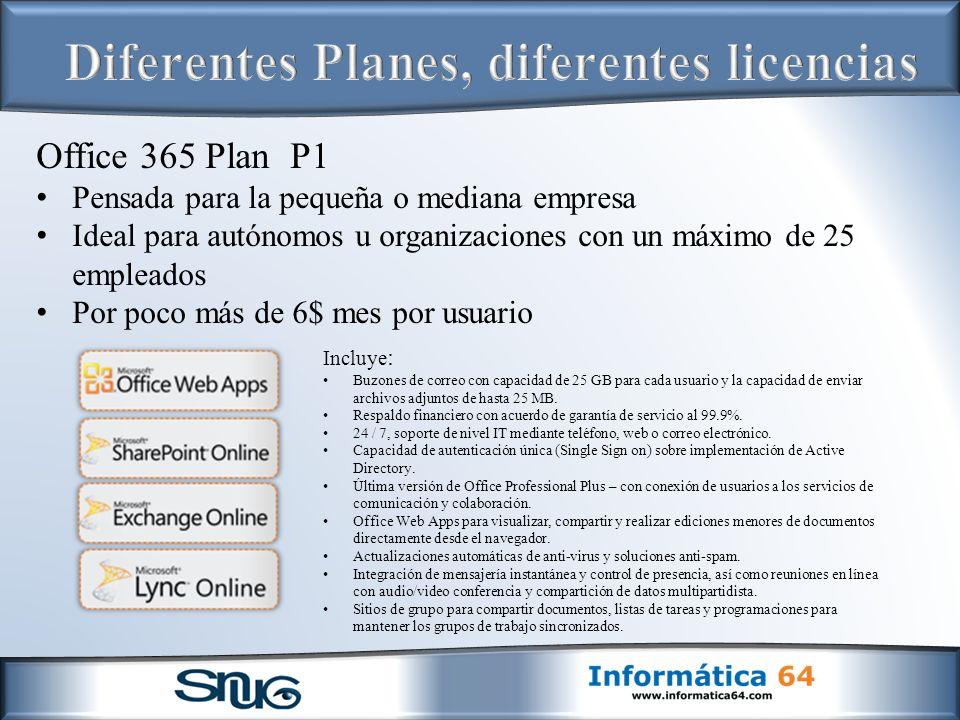Office 365 Plan P1 Pensada para la pequeña o mediana empresa Ideal para autónomos u organizaciones con un máximo de 25 empleados Por poco más de 6$ mes por usuario Incluye : Buzones de correo con capacidad de 25 GB para cada usuario y la capacidad de enviar archivos adjuntos de hasta 25 MB.