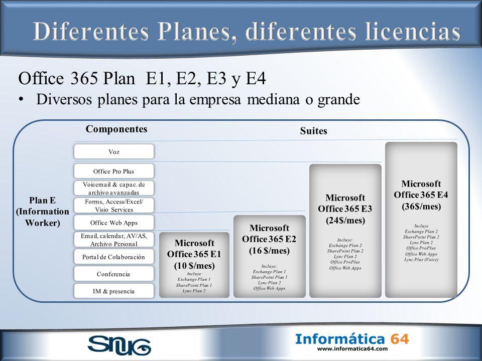 Office 365 Plan E1, E2, E3 y E4 Diversos planes para la empresa mediana o grande