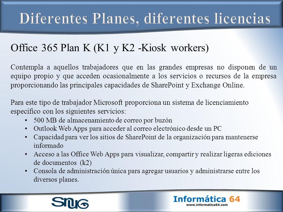 Office 365 Plan K (K1 y K2 -Kiosk workers) Contempla a aquellos trabajadores que en las grandes empresas no disponen de un equipo propio y que acceden ocasionalmente a los servicios o recursos de la empresa proporcionando las principales capacidades de SharePoint y Exchange Online.