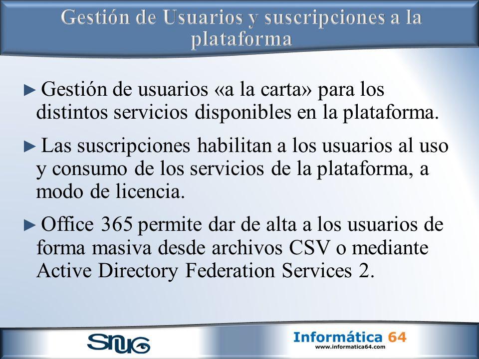 Gestión de usuarios «a la carta» para los distintos servicios disponibles en la plataforma.