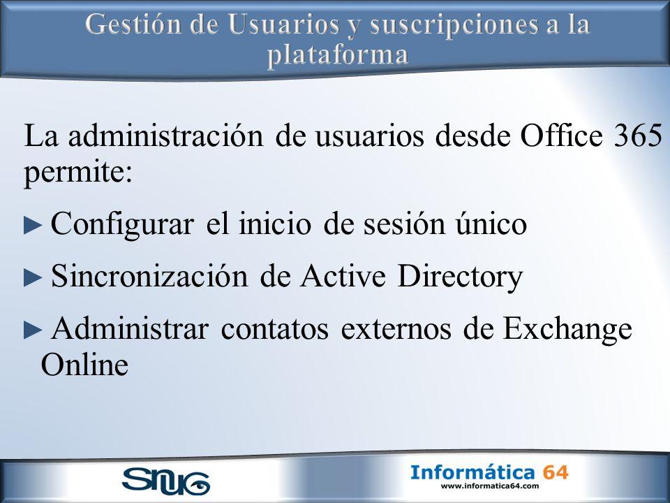 La administración de usuarios desde Office 365 permite: Configurar el inicio de sesión único Sincronización de Active Directory Administrar contatos externos de Exchange Online