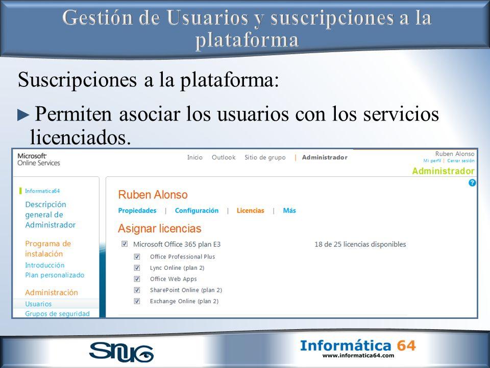 Suscripciones a la plataforma: Permiten asociar los usuarios con los servicios licenciados.