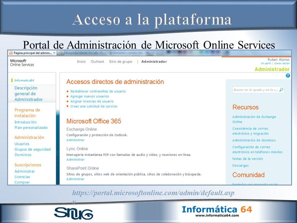Portal de Administración de Microsoft Online Services https://portal.microsoftonline.com/admin/default.asp x