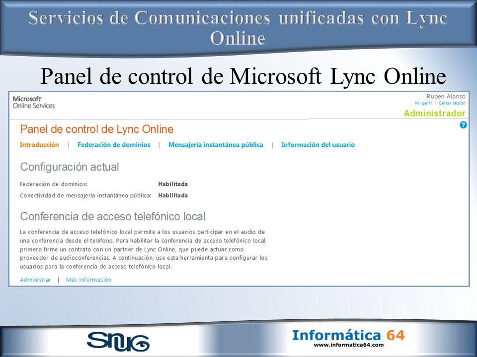 Panel de control de Microsoft Lync Online
