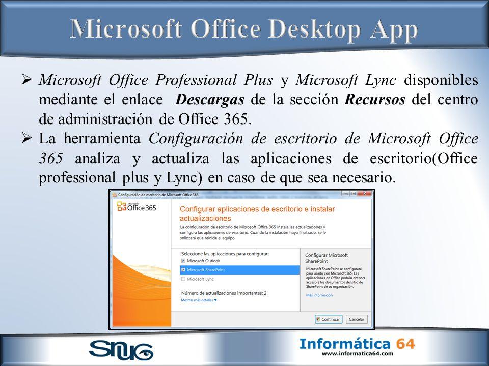 Microsoft Office Professional Plus y Microsoft Lync disponibles mediante el enlace Descargas de la sección Recursos del centro de administración de Office 365.