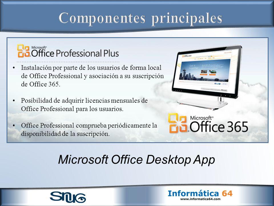 Microsoft Office Desktop App Instalación por parte de los usuarios de forma local de Office Professional y asociación a su suscripción de Office 365.