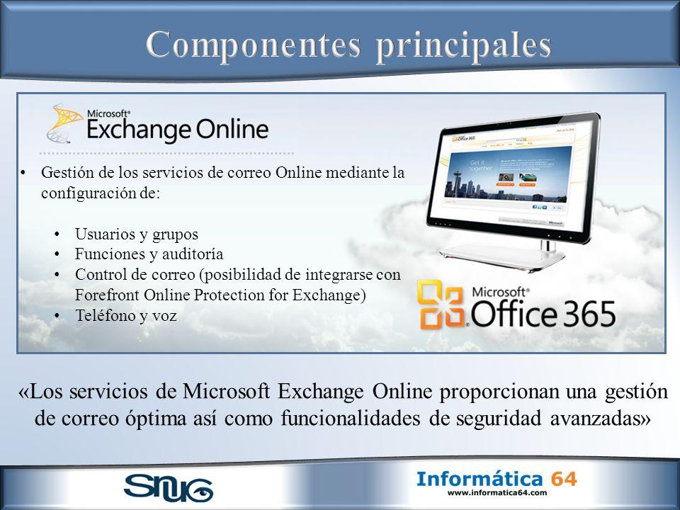 «Los servicios de Microsoft Exchange Online proporcionan una gestión de correo óptima así como funcionalidades de seguridad avanzadas» Gestión de los servicios de correo Online mediante la configuración de: Usuarios y grupos Funciones y auditoría Control de correo (posibilidad de integrarse con Forefront Online Protection for Exchange) Teléfono y voz