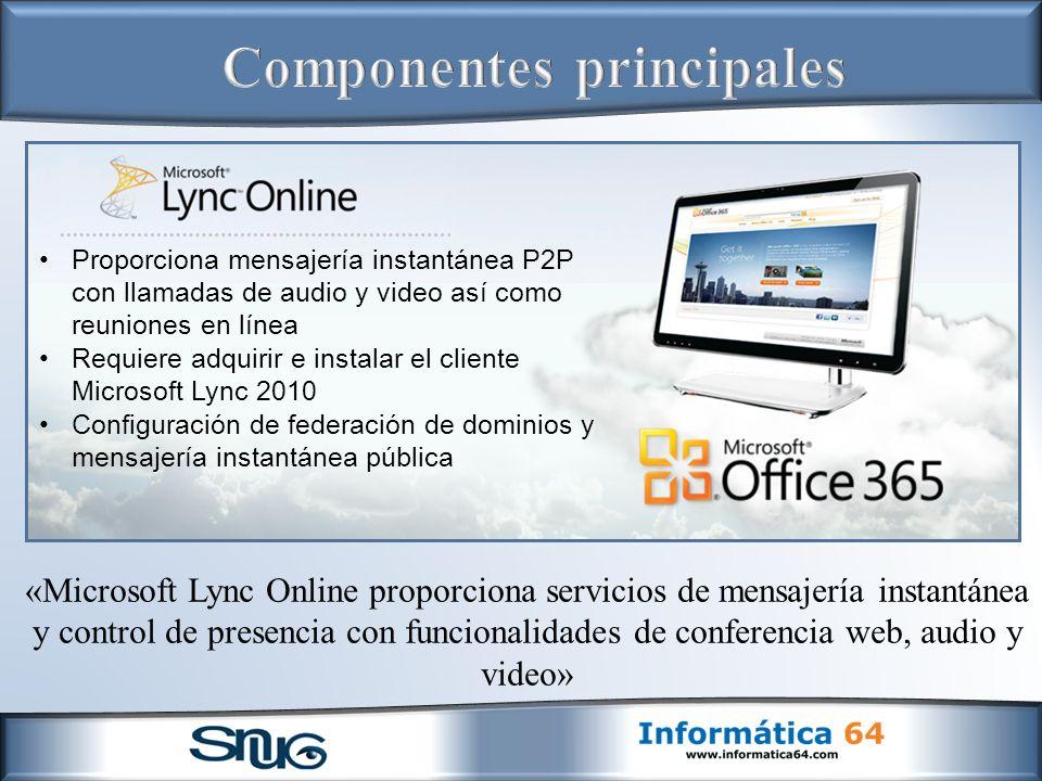 «Microsoft Lync Online proporciona servicios de mensajería instantánea y control de presencia con funcionalidades de conferencia web, audio y video» Proporciona mensajería instantánea P2P con llamadas de audio y video así como reuniones en línea Requiere adquirir e instalar el cliente Microsoft Lync 2010 Configuración de federación de dominios y mensajería instantánea pública